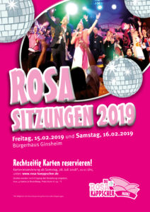 Kartenreservierung für die Rosa Sitzungen 2019 ab 28. Juli 2018!